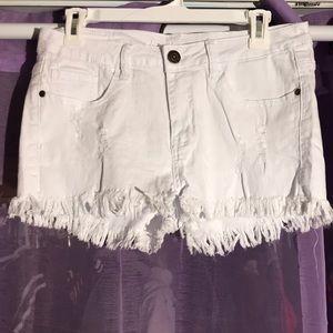 Machine brand white jean shorts